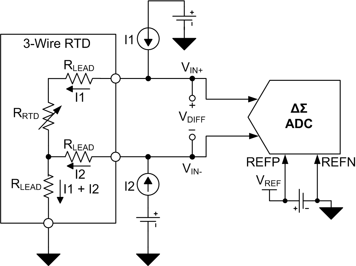 Figure 3: Three-wire RTD circuit with external reference.