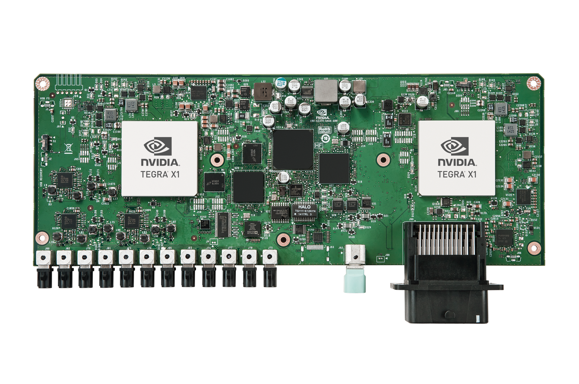 Figure 1 | The NVIDIA Drive PX platform features two Tegra X1 processors, each capable of 1 trillion floating-point operations per second for demanding image detection and recognition tasks in advanced driver assistance systems (ADAS).