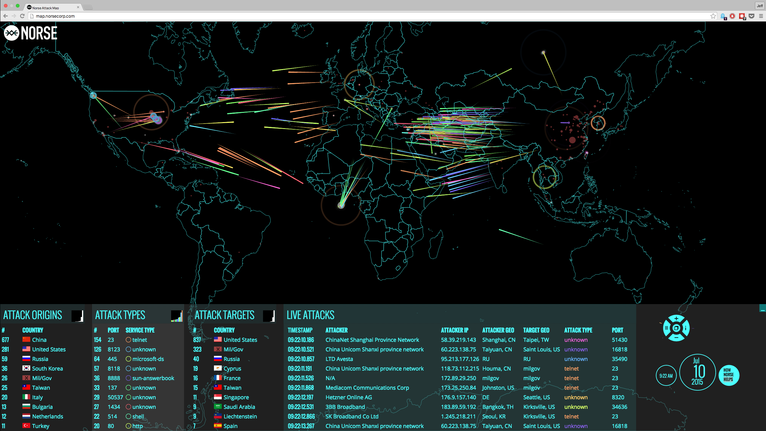 Norse Corporation produces a real-time map of worldwide cyber attacks, which calculates hundreds per minute.]